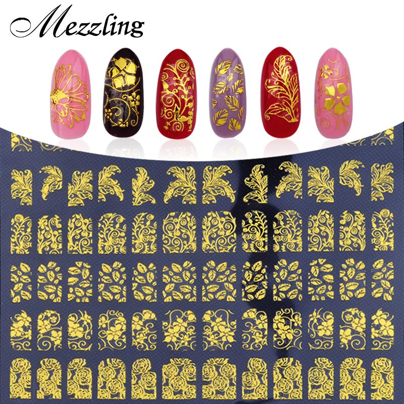 3D Nail Art Stickers Decals,108pcs/sheet Charm Gold Metallic Mix Flowers Designs Nail Tips Decoration,DIY Beauty Nail Art Tools stylish style men s casual shoes with splicing and round toe design