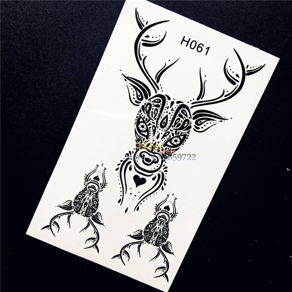 1PC Exquisite Temporary Tattoo Waterproof Decals Sticker Black Beauty Elk Deer Anlther Design Men Women Arm Leg Fake Tattoo HH61