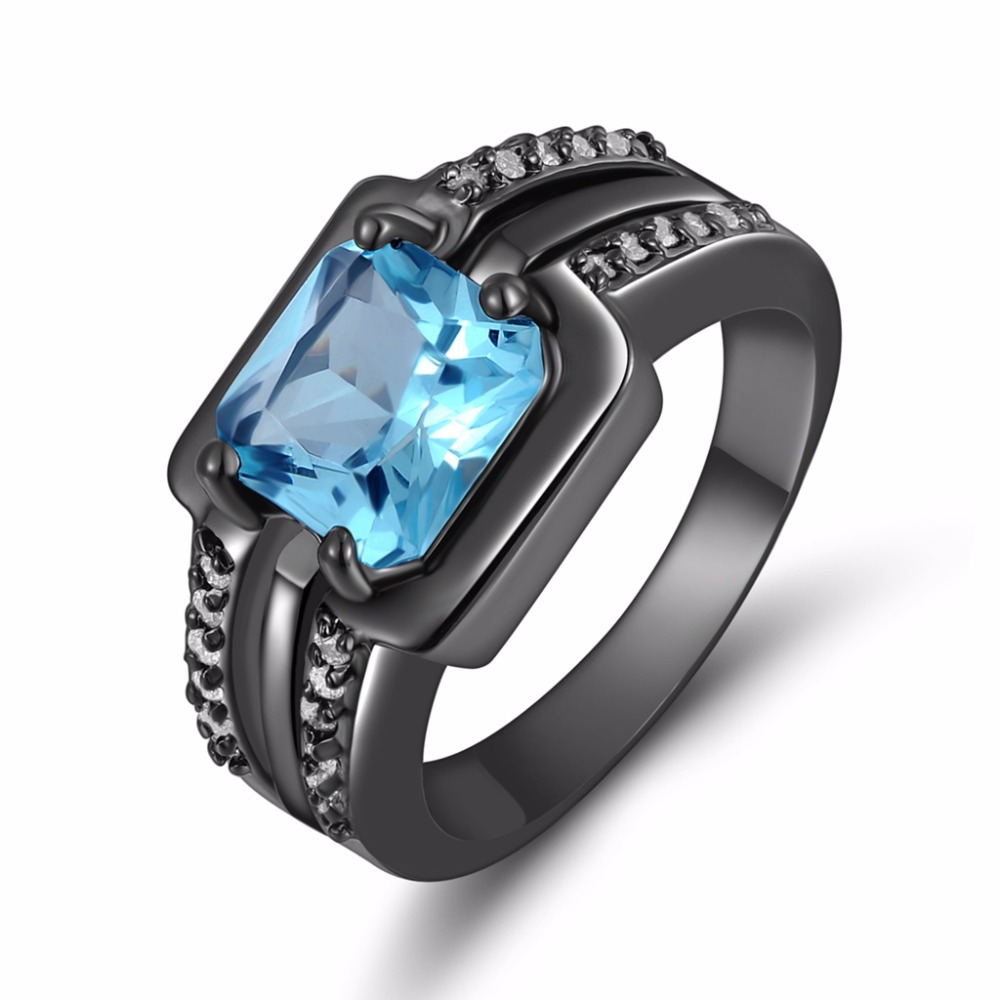Fashion Jewelry Mens Simple Water Blue Stone Ring Black Rhodium