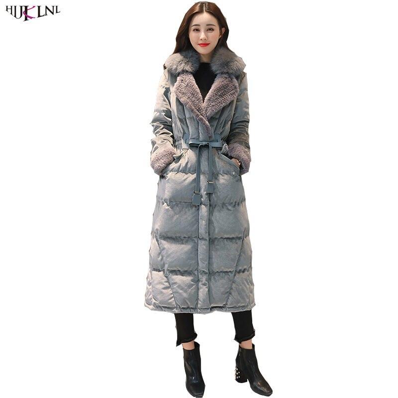 2018 New Women Winter Duck Down Jacket Long Velour Fur Collar Coat Vintage Korean Style Slim Elegant Outer Warm Outwear AC260
