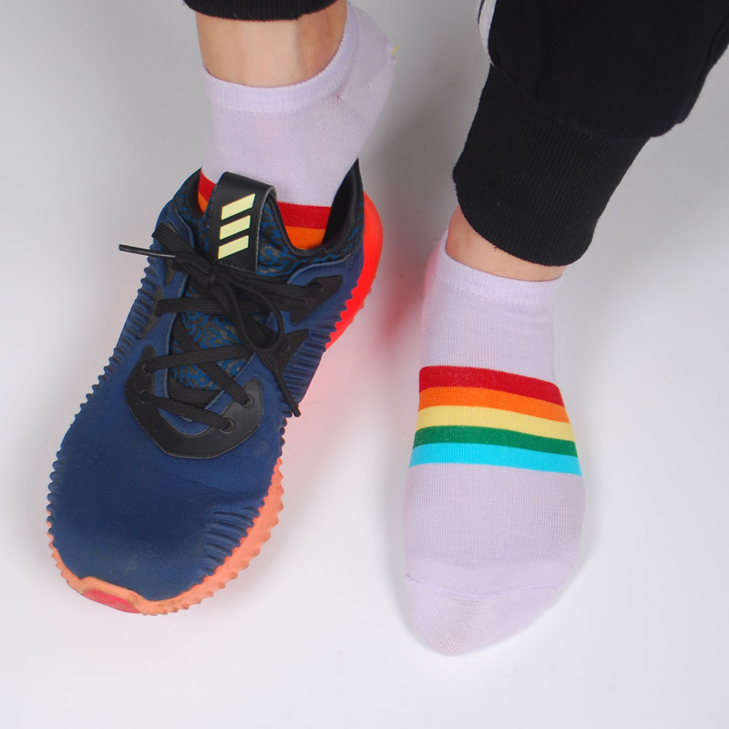 Women Summer Cool Ankle Socks Rainbow Colored Design Soft Breathable No Smell Bamboo Thin Boat No Show Socks Non-slip