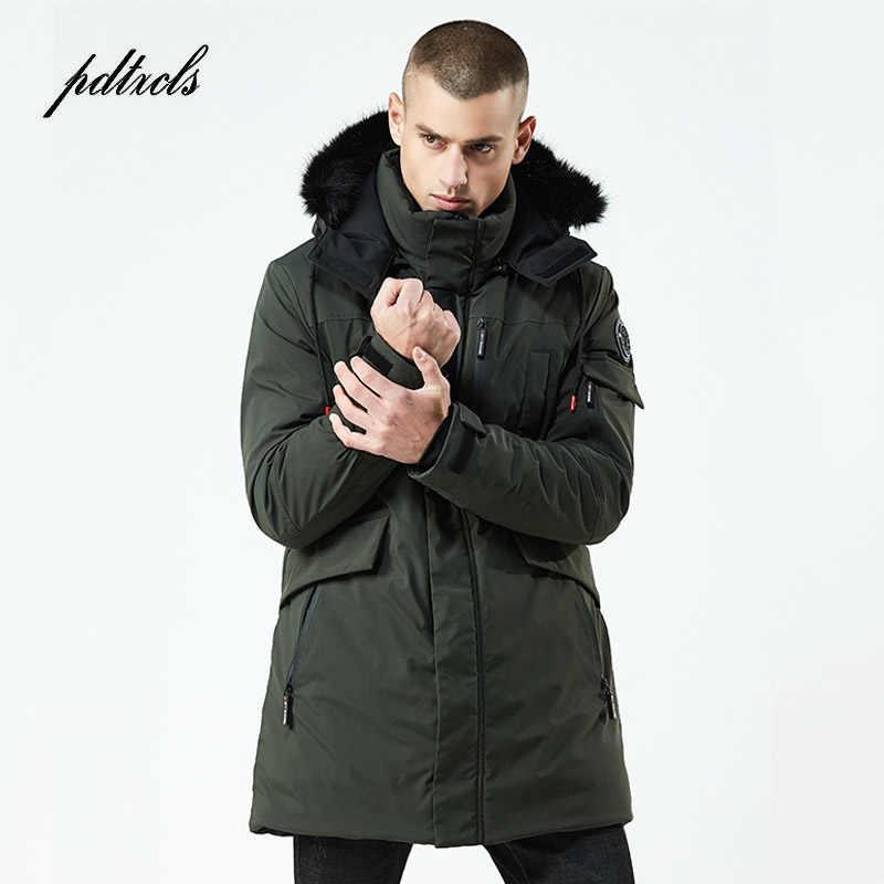 ¡Novedad de 2019! Chaquetas acolchadas de algodón con capucha de estilo largo e informal para invierno, chaquetas gruesas a prueba de viento para hombre, Parka con bolsillos, abrigos