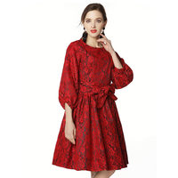 2018 Spring Autumn New Lace Seven Point Sleeve Dress Bowknot Ladies High End Bow Slim Slimming