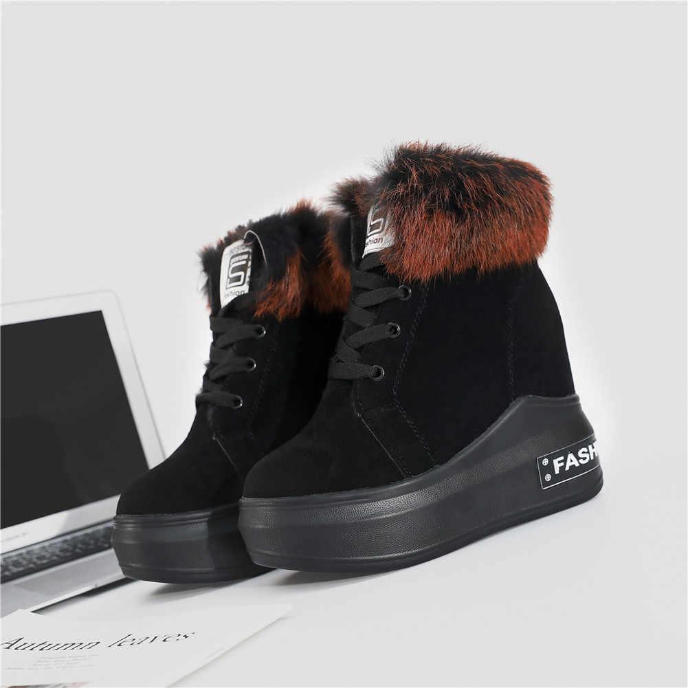 KARINLUNA/Новинка 2019 года, ботинки на шнуровке с круглым носком, обувь, увеличивающая рост, женская повседневная обувь, лидер продаж, женские осенне-зимние ботильоны