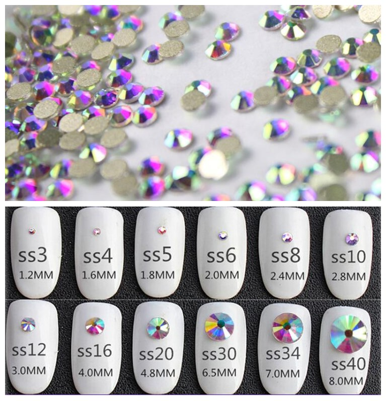 Crystal AB 3D Nail Art Rhinestones ss3 ss4 ss5 ss6 ss10 ss12 ss16 ss20 ss30 ss34 Glass/Crystal Non HotFix Nail Art Decorations