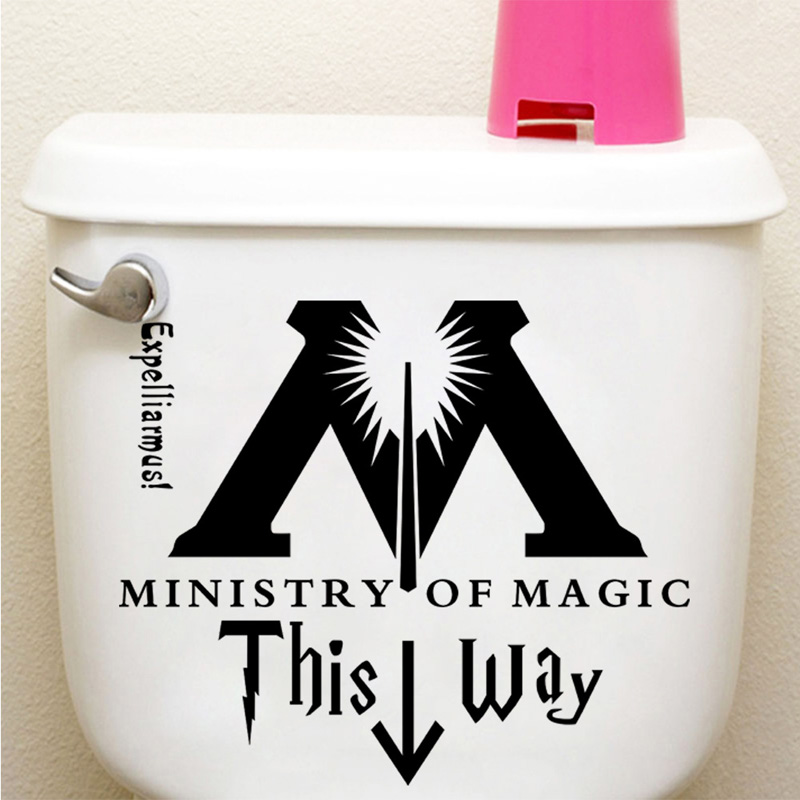 Funny Ministry Of Magic bathroom wall sticker home decor toilet decoration wall decals waterproof toilet stickers Free shipping