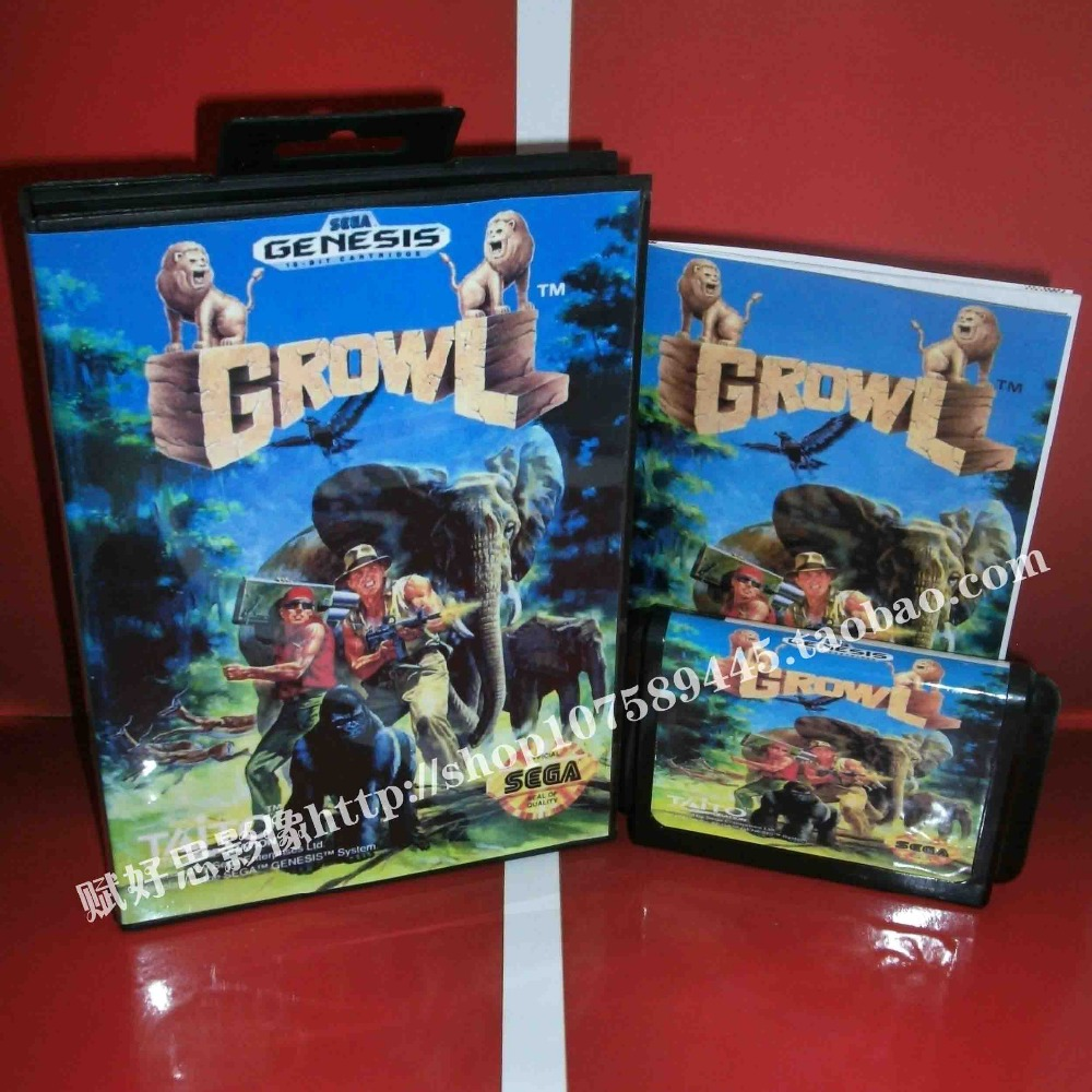 Growl Game cartridge with Box and Manual 16 bit MD card for Sega Mega Drive for Genesis