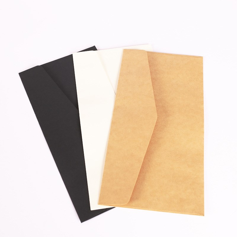 10pcs/pack White Black Paper Envelope Message Card Letter Stationary Storage Paper Card Scrapbooking Gift