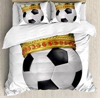 Król Kołdra Pokrywa Zestaw Piłka Nożna Piłka Nożna Sport Mistrzostwa Inspired Ball Korona z Ozdoby Obrazu Wydruku 4 Sztuka Pościel Zestaw