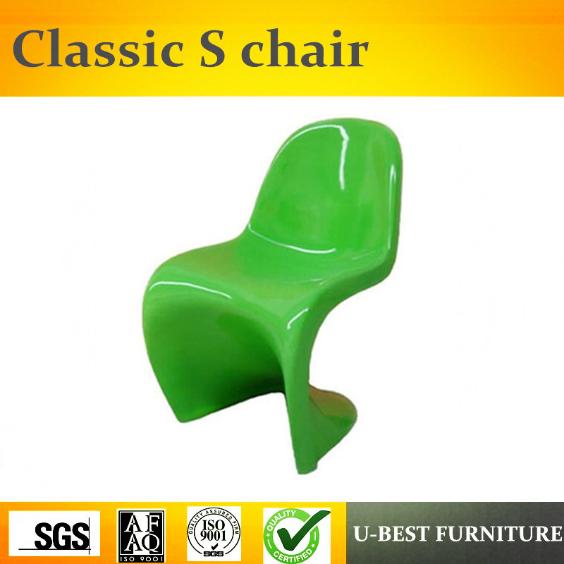 U-BEST Modern design S shape Plastic living room chairs,Replica Verner dining living room cafe fiberglass armless S Shape chair u best modern fiberglass bar chair dining chairs with fabric cushion designer classic tulip dining chair