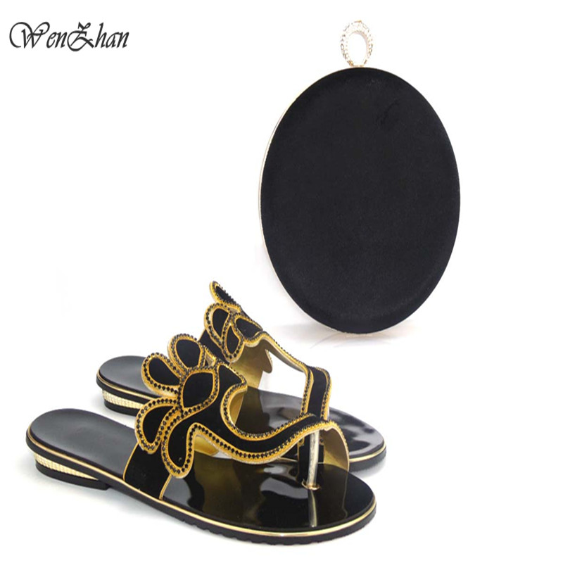 High Quality Matching Italian Shoes And Bag Set African Lady Sandal Shoes And Matching Bag Set With Stones WENZHAN 0710-30 nigeria wedding african shoes and matching bag set with stones colorful high heels italian shoes with bag set to match th16 43