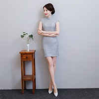 Shanghai Story 2018 Summer New Sale Chinese Traditional Dress For Women Lace Qipao Dress Grey Cheongsam