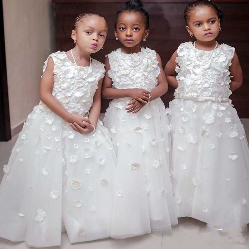 New Arrival White Tulle A-Line Flower Girl Dresses 2019 Kids Prom Dress Appliques Tank Floor Length Children Evening Gowns