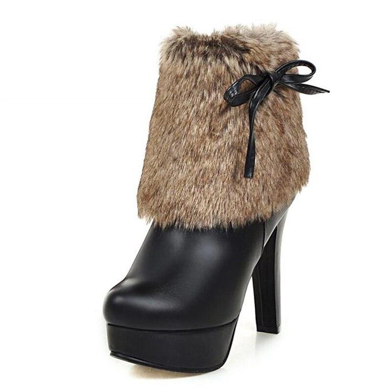 Big Size 34 43 High Heels Fur Shaft Lady s Warm Ankle Boots Zip Platform Add