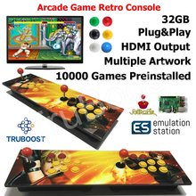 2 oyuncu çift ahududu Pi Arcade oyun Retro konsolu çoklu ahşap sanat Panel oyun önceden yüklenmiş