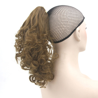 Soowee Short Synthetic Hair Claw Ponytail Hairpieces Wig Curly Black Brown Clip In Hair Extension
