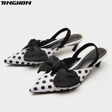 TINGHON Summer Polka Dot Women Sandals Bowtie Kitten Heel Women Mules Pointed Toe Slingback High Heels Sandals Women Pumps runway crystal rhinestone rivets studded women pumps slingback pointed toe summer sandals kitten heels crystal shoes women