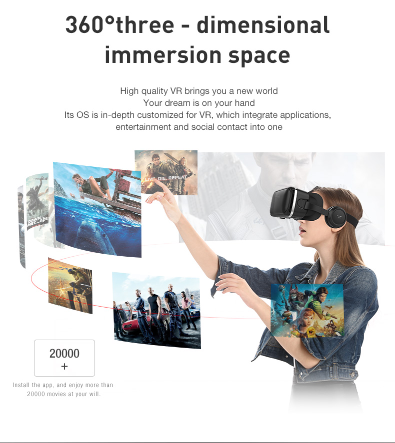 Original VR shinecon SC-G04 PU Leather 3D Cardboard Helmet Virtual Reality  VR Glasses Headset Stereo Box for 4-6' Mobile Phone