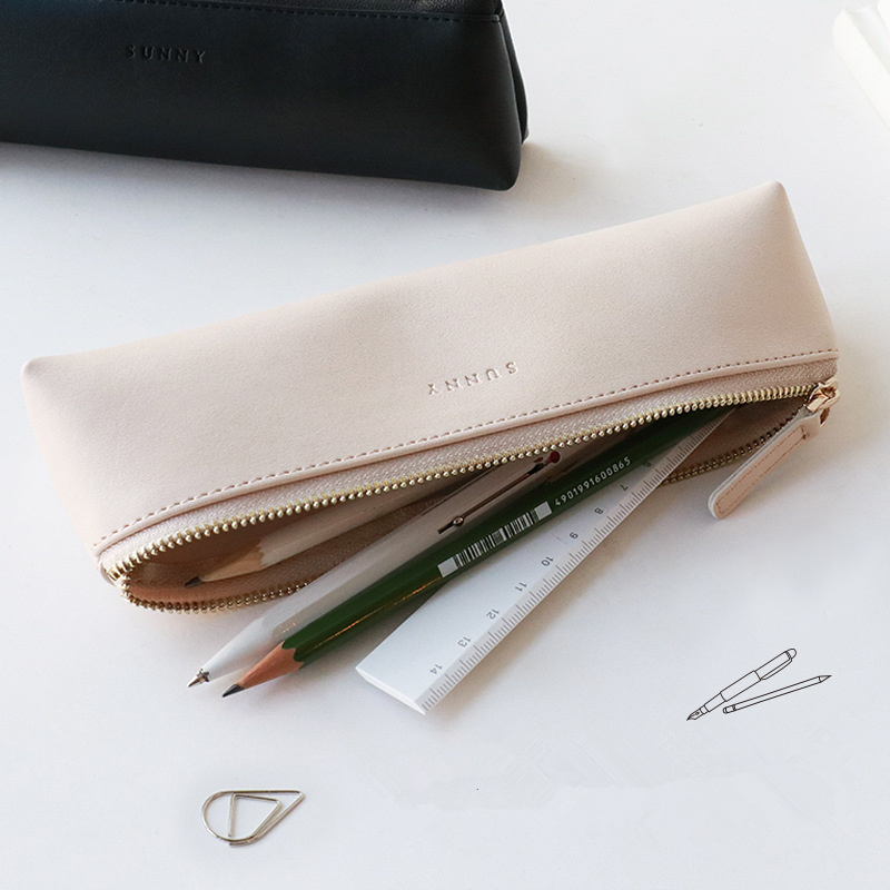 Coloffice Leather Simple Style Pencil Bag Students Desktop Stationery Storage Bag Creative Korean Pencil Case School Supplies