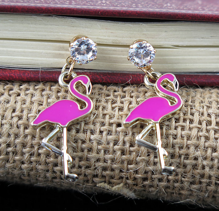 TianBo Cute Pink ostrich Red-crowned Crane Animal Flamingo Stud Earring Beautiful Fashion Jewelry Christmas Gift