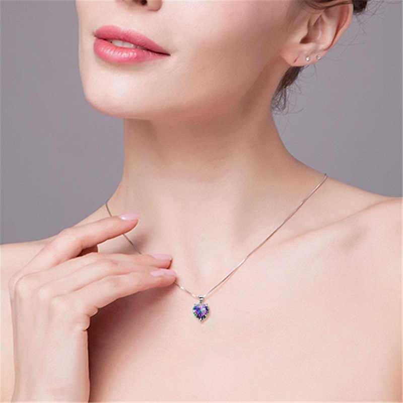Yanleyu romantique saint valentin cadeau 925 en argent Sterling coeur coloré cristal CZ pierre pendentif collier pour les femmes PN029