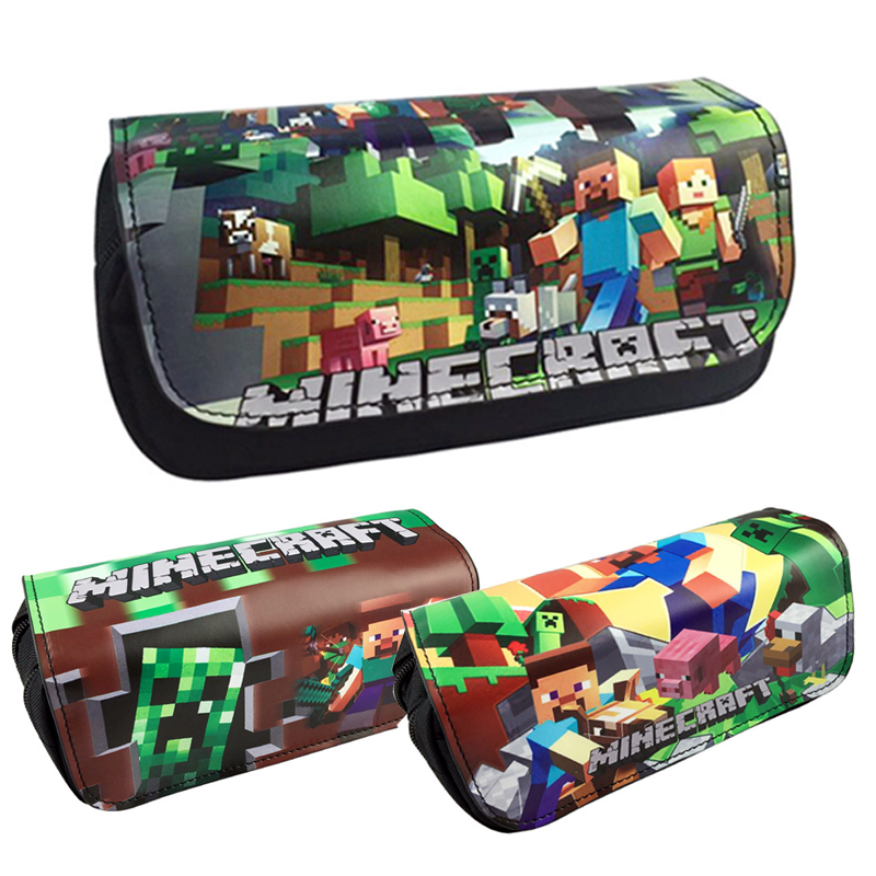 Camo Pencil Case Double Layer Large Capacity Leather Cute Minecraft Pencil Box Kawaii School Pen Bag Pencilcase Student Supplies big capacity high quality canvas shark double layers pen pencil holder makeup case bag for school student with combination coded lock
