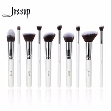 Jessup 10Pcs Professional Make up Brushes Set Foundation Blusher Kabuki Powder Eyeshadow Blending Eyebrow Brushes White/SIlver