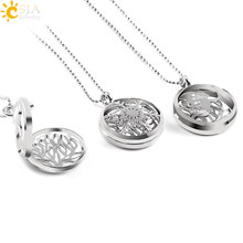 CSJA Female Jewelry Necklace DIY Making Hollow Fairy Deer Animal Tree of Life Charm Locket Pendant with Bead Chain No Stone E502(China)