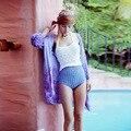 Лето Повседневный Богемия Beach Шифон Кардиган Езды Открыть Стежка Широкий талией Chaquetas Mujer Пальто Куртки Женщин