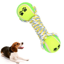 Dumbbell Rope Tennis Pet Chew Toy Puppy Dog Tooth Cleaning Chew Ball Puppy Pet Play Training Chewing Toy With Rope