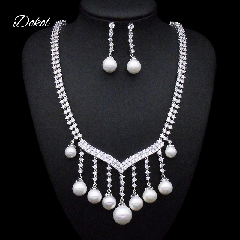 DOKOL Fashion Women Jewelry Set High-grade Pearl Dangle Earrings and Necklace Sets For Wedding Accessories bijoux DKS0031DOKOL Fashion Women Jewelry Set High-grade Pearl Dangle Earrings and Necklace Sets For Wedding Accessories bijoux DKS0031