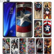 Avengers Superhero Captain America Shield Black Case for Xiaomi Redmi K20 Pro Note 7 5 6 6A 7A 4X Plus Y3 GO Sil