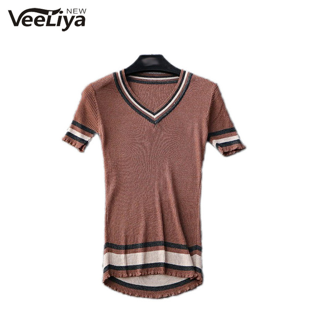 P576 Spring Summer V Neck Knitted Tops Women Sweater Shirt Casual