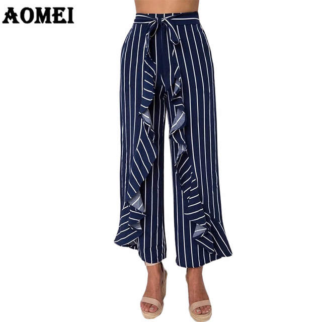 8b461f77c420 Ladies Wide Leg Pants Trousers Navy Blue Stripe Ruffle Casual Palazzo with  Bowtie Waist Belt Culottes