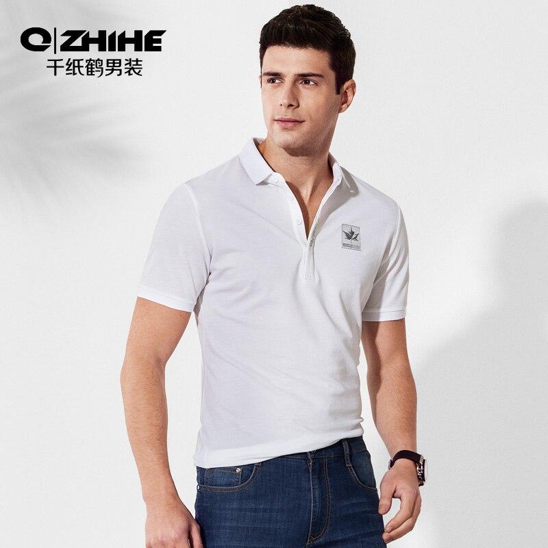 Qzhihe homme T-shirt à manches courtes blanc brodé Polo 2019 été vêtements pour hommes 2586