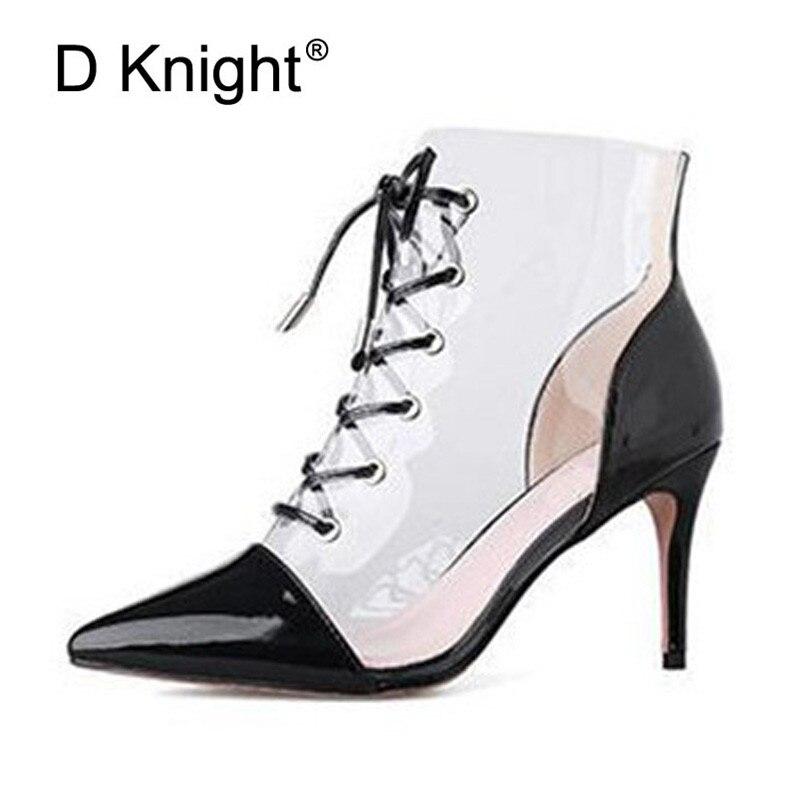 Grande taille 34-43 Transparent femmes pompes Sexy Patchwork mince talons hauts sandales mode bout pointu clair talons aiguilles dames chaussures