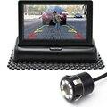 """4.3 """"dobrável Tft LCD a Cores Espelho Retrovisor Do Carro Monitor Com 8 À Prova D' Água LEVOU Carro de Backup Estacionamento Reverso Câmera de Visão Traseira"""