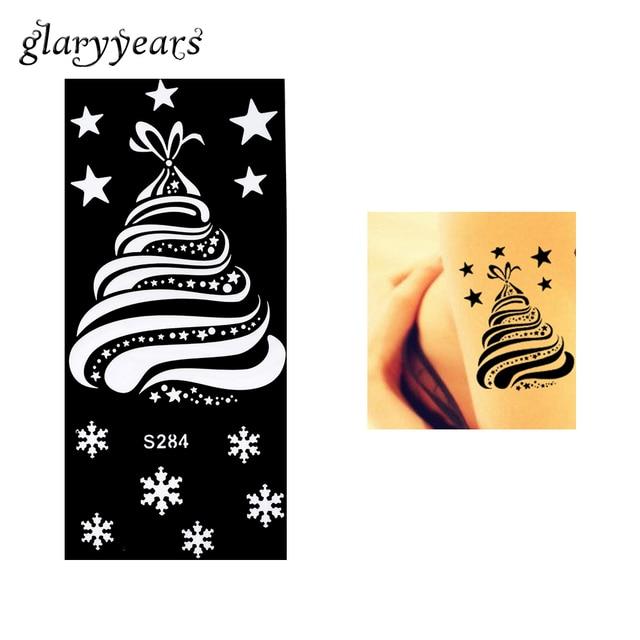 Us 0 79 1 Piece Henna Tattoo Stencil Beauty Snowflake Star Christmas Tree Henna Paste Diy Drawing Female Leg Arm Art Tattoo Stencil S284 In Tattoo