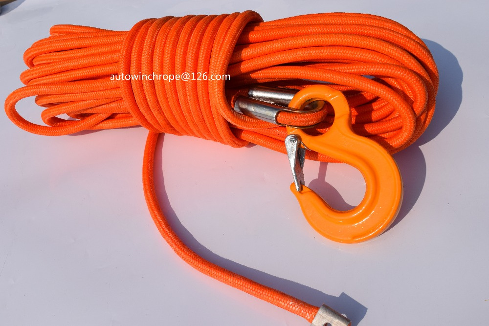 Free Shipping Orange 12mm 30m UHMWPE Core with UHMWPE Jacket Synthetic Rope ATV Winch Cable Boat