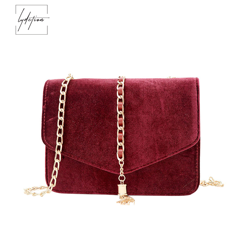 Lydztion Autumn Winter Fashion Fringed Messenger Bag 2018 Warm Sweet New Casual Velvet Small Clutch Bag
