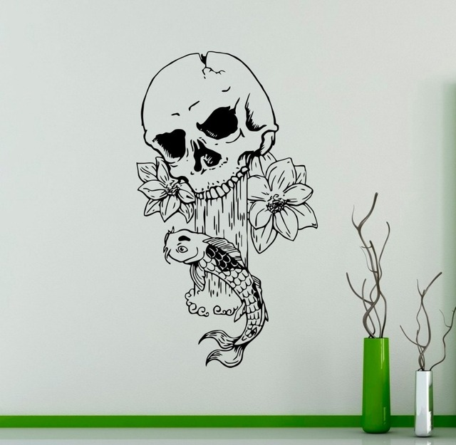 Art design skull come out flower with fish vinyl wall sticker special creative home livingroom decorative