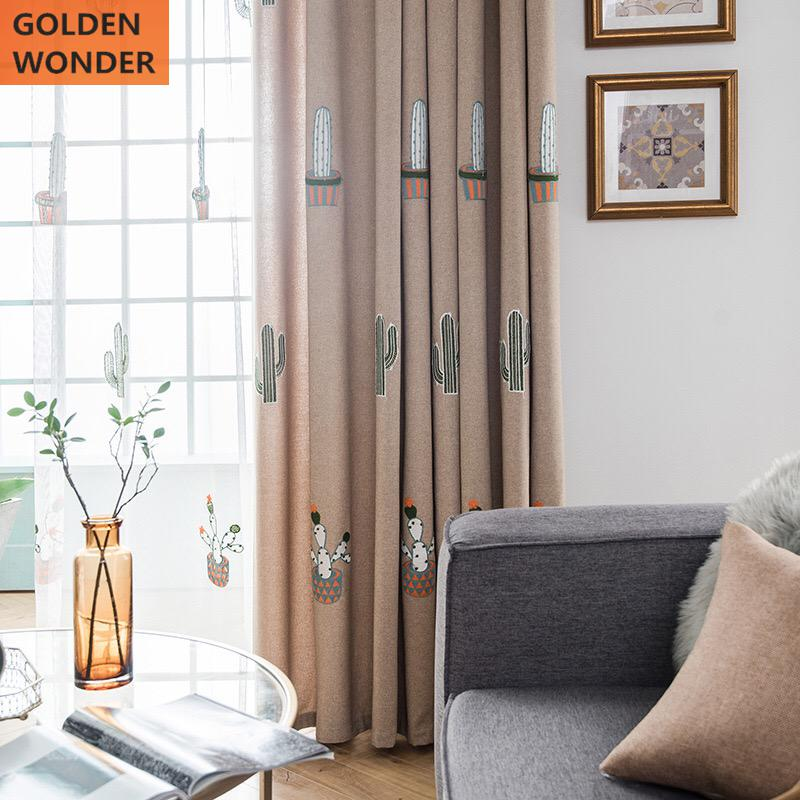 Embroidered Cartoon Curtains For Living Room Chinese Bedroom Home Window Decoration Thick Fabric