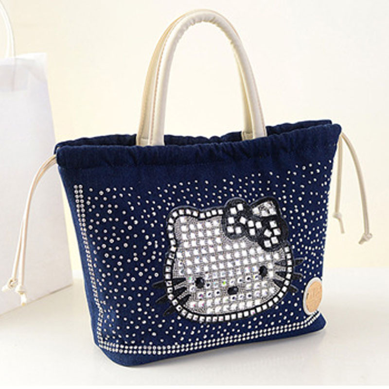 fashion ladies denim hellokitty bag diamonds handbag sac a main marques bolsas de marca bolsos. Black Bedroom Furniture Sets. Home Design Ideas