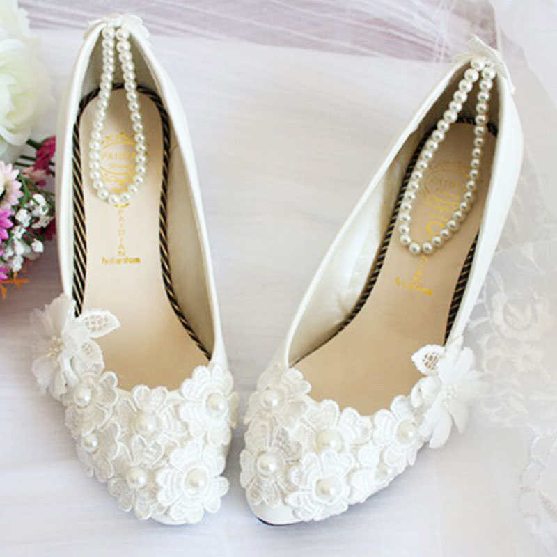 Silk Floral flat heel white wedding shoes bridal Women shoes ...
