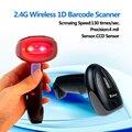 Frete Grátis! Tela CCD Scanner de código de Barras 1D Leitor de Código de Barras sem fio 2.4G Sem Fio 1D Barcode Scanner 4Mil Para Pagamento Móvel