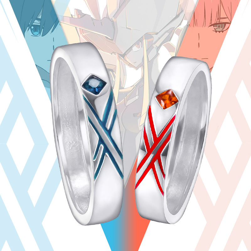 Anime DARLING in the FRANXX 02 cosplay Ring zero two Couple Rings prop 02 Cos Gift Daily Accessories