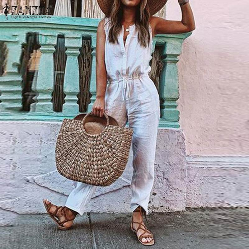 S 5XL ZANZEA Women V Neck Overalls Casual Solid Cotton Long Rompers 2019 Summer Sleeveless Party Jumpsuits Female Playsuit Pants