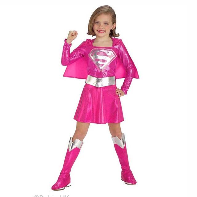 kids pink supergirl costume toddler girls supergirl dress up outfit superhero halloween fancy dress child halloween