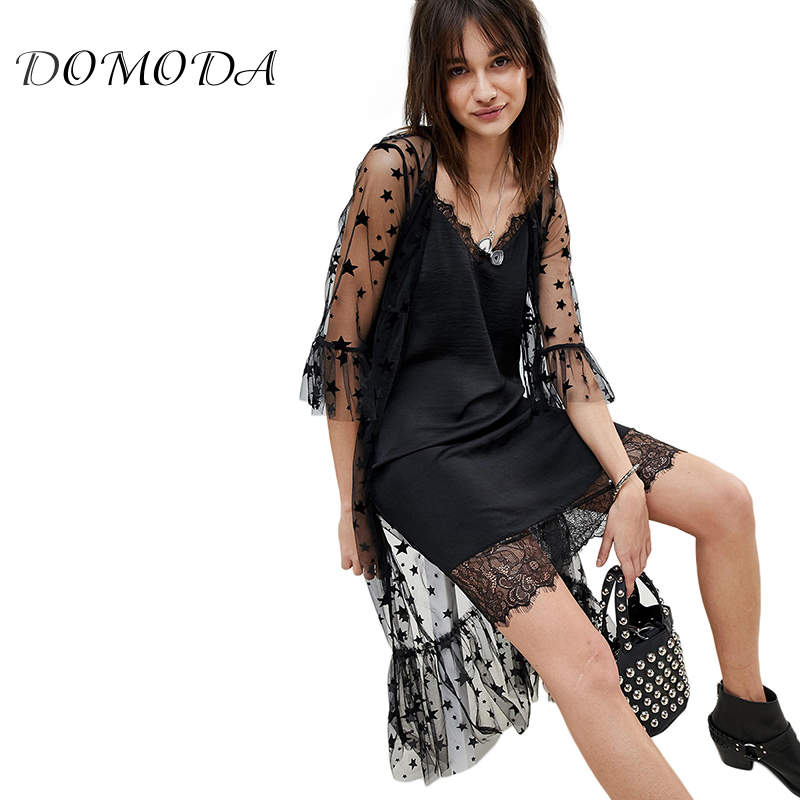 DOMODAWomen Casual Solid Black Stars Print Mesh Patchwork