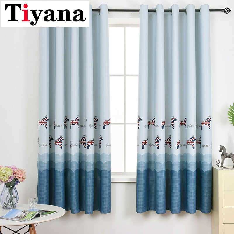 Cartoon Animal Printed Blackout Curtains For Children Room Cortina Sheer Curtain For Kids Room Thick Fabric PC28X